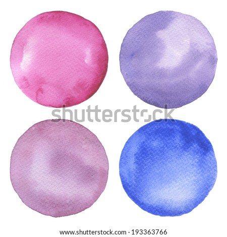 Watercolor circles collection. Watercolor stains set isolated on white background. Watercolor palette. - stock photo