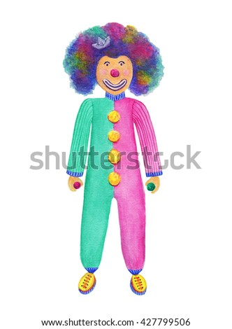 Watercolor clown. Funny clown with colorful ball. Watercolor illustration - stock photo