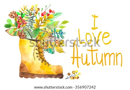 Watercolor collection of autumn elements - leafs, cones, berries, beautiful bouquet - stock photo