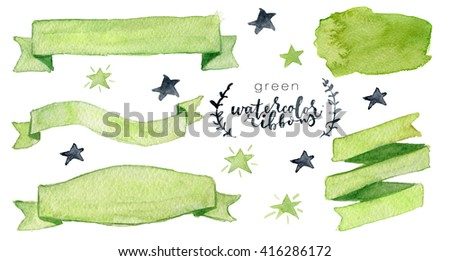 Watercolor collection with green ribbons, label, floral elements, stars. Hand drawn watercolor design elements isolated on white background - stock photo