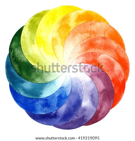 Watercolor Color Wheel Primary Secondary And Tertiary Colors Hand Drawn Painting On