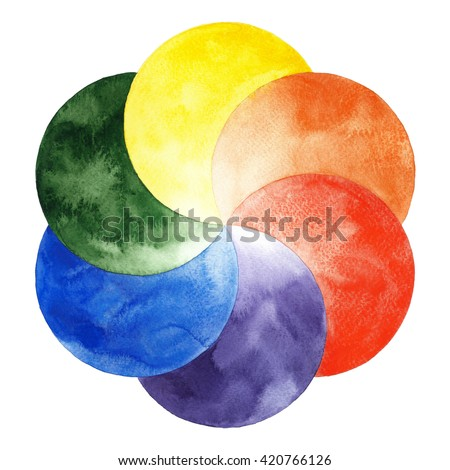 Watercolor Color Wheel With Primary And Secondary Colors Hand Drawn Painting On White Background