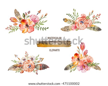 Watercolor colorful ethnic set of arrows and flowers in native American style.Tribal Navajo isolated ornament on white background. Indian, Peru Aztec wrapping illustration.