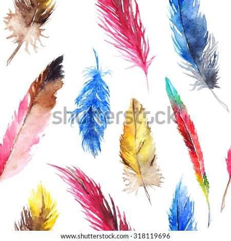 Watercolor colorful feather boho seamless pattern background texture