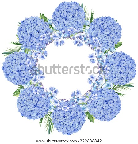 Watercolor colorful floral greeting decoration wreath set with hydrangea - stock photo