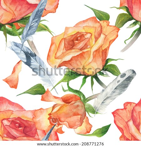 Watercolor colorful handmade red rose flowers pattern set with white background and feathers - stock photo