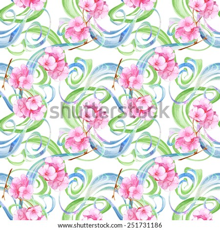 Watercolor colorful handmade seamless abstract shapes set with pink flowers - stock photo