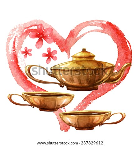Watercolor colorful romantic refreshment and relax tea set