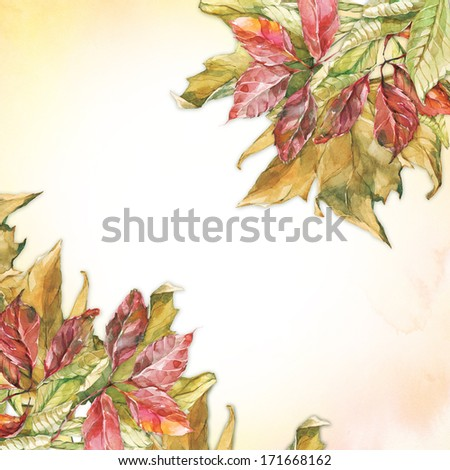 Watercolor corners with dry autumn leaves of sycamore, grape and chestnut - stock photo