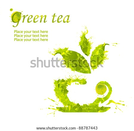 Watercolor cup of green tea isolated on white background