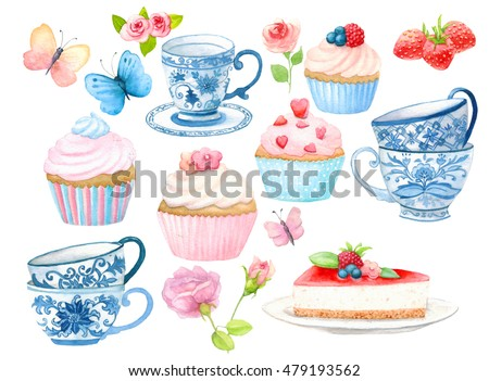 Watercolor cupcake, teacup, butterfly, roses clipart. Ideal for printing onto fabric and paper or scrap booking. Hand painted. Raster illustration. Clipping path included. Fast isolation.