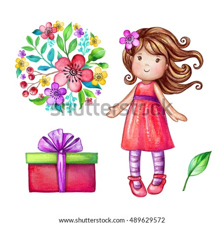 Watercolor cute girl illustration baby doll 489629572 watercolor cute girl illustration baby doll little princess floral bouquet wrapped gift negle Choice Image