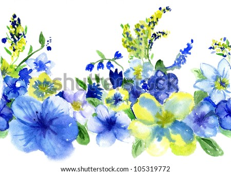watercolor dark blue and yellow flowers on a white background - stock photo