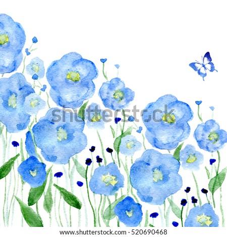 watercolor dark blue flowers on white stock illustration 520690468 shutterstock. Black Bedroom Furniture Sets. Home Design Ideas