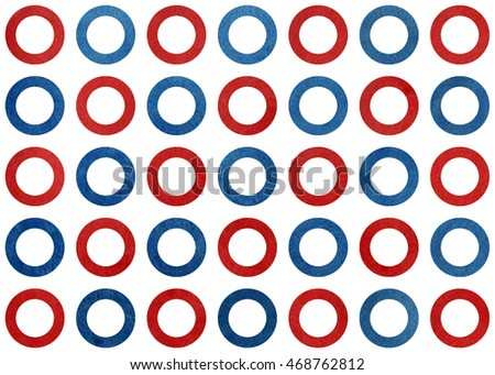 Watercolor dark red and dark blue circles on white background.