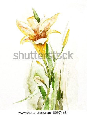 Watercolor  Daylily