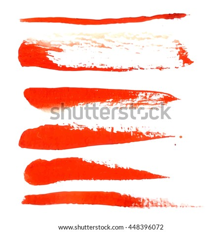 Watercolor design element  red brush for the realization of your best ideas.