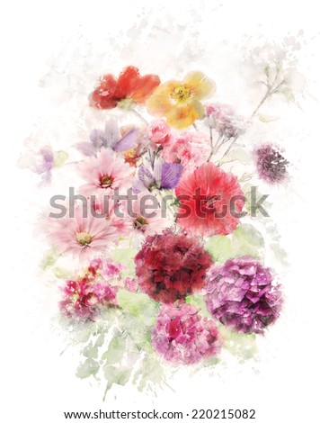 Watercolor Digital Painting Of Flowers - stock photo