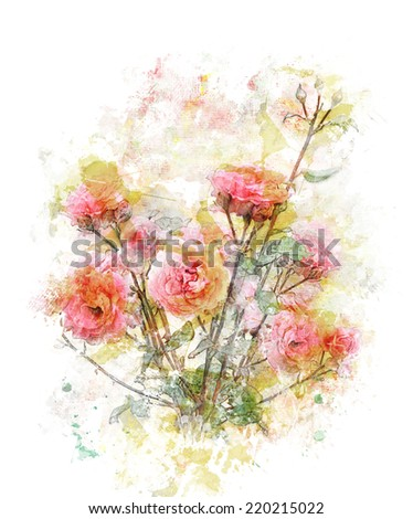 Watercolor Digital Painting Of Rose Branch - stock photo