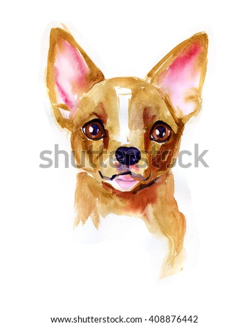Watercolor dog Chihuahua