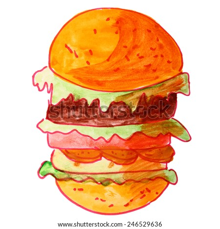 watercolor drawing a children cartoon hamburger on a white background - stock photo