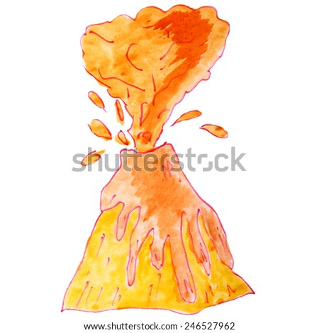 watercolor drawing a children cartoon volcano on a white background