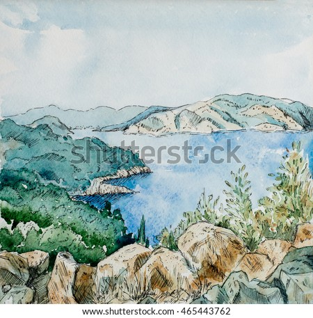 watercolor drawing  mountains landscape with the sea, hand painting illustration.