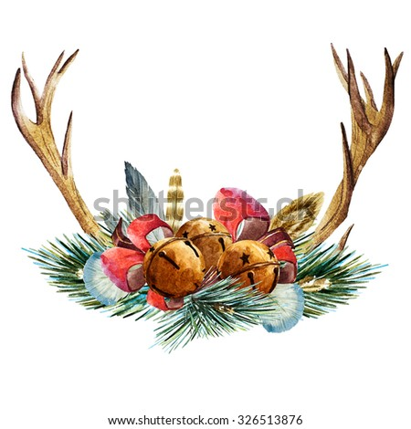 watercolor drawing of a Christmas, fir branch, ribbon, Christmas bells, horns of a deer - stock photo