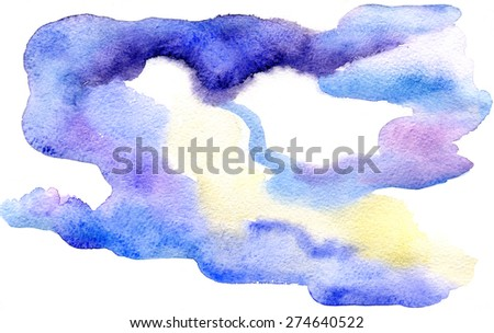 Watercolor drawing of abstract stormy clouds