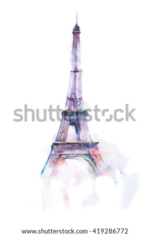 watercolor drawing of Eiffel tower in Paris on white background - stock photo