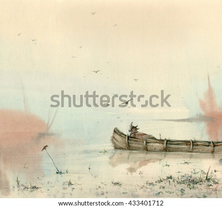 watercolor early morning fisherman boat