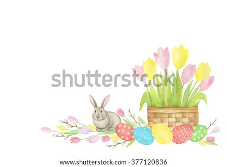 Watercolor Easter basket with eggs, bouquets of flowers and rabbit on white background. Ideal for postcards, greetings and invitations.