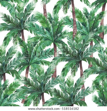 Watercolor exotic seamless pattern, green tropical leaves, botanical summer illustration on white background