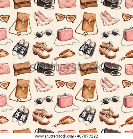 Watercolor fashion illustration. Seamless pattern