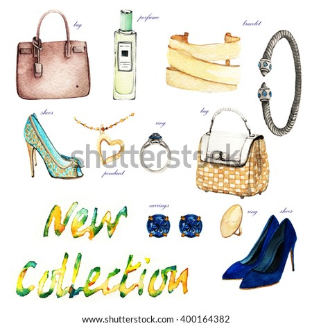 Watercolor Fashion Illustration. spring. set of trendy accessories. bag,shoes,perfume, bracelet,ring,pendant,earrings - stock photo