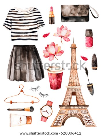 Watercolor Fashion Illustration Paris Style Handpainted Texture With Striped Topcosmetics