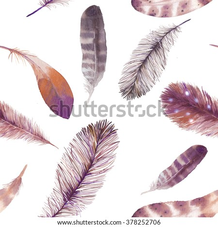 Watercolor feathers seamless pattern. Hand painted various bird feathers on white background. Boho chic style artistic wallpaper - stock photo