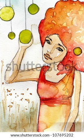 watercolor figure of a woman - stock photo