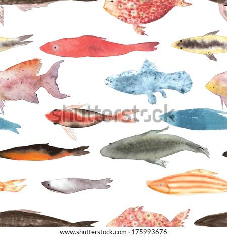 Watercolor fish seamless illustration - stock photo