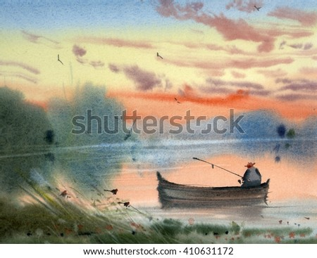 watercolor fishing illustration