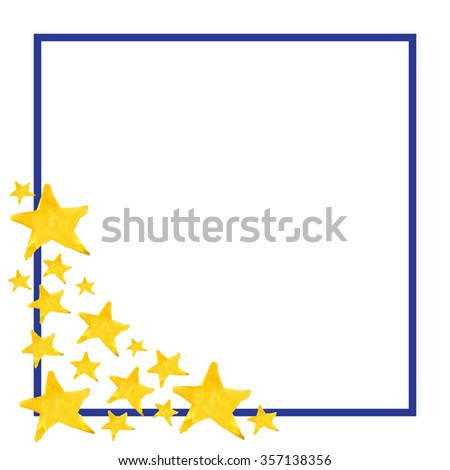 Watercolor five pointed star symbol frame template background