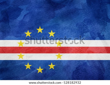 Watercolor flag background. Cabo Verde
