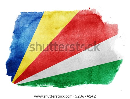 Watercolor flag background. Seychelles