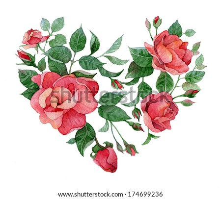 Watercolor floral abstract heart of roses - stock photo