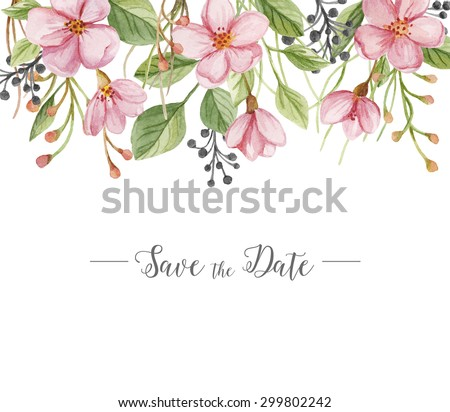 Watercolor floral background of flowers, branches and foliage. Save the date. Wedding invitation. Hand drawn illustration - stock photo