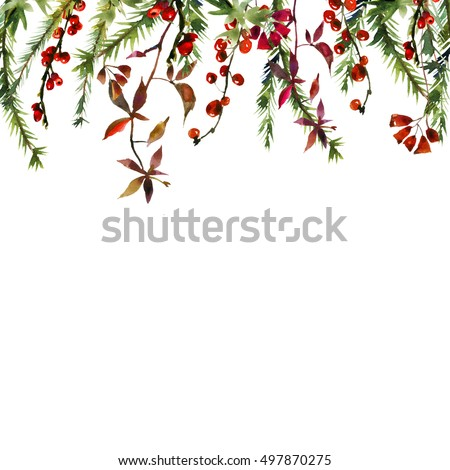 Watercolor Floral Border Winter Fall Flowers Leaves Fur Tree Branches Red Berries Christmas New Year Isolated