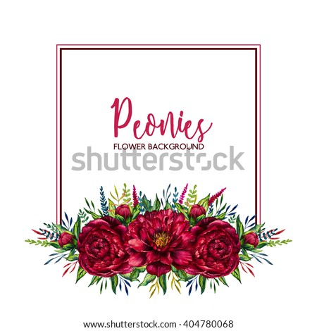 Watercolor Floral Border Flower Red Peony Stock Illustration 404780068 Shutterstock