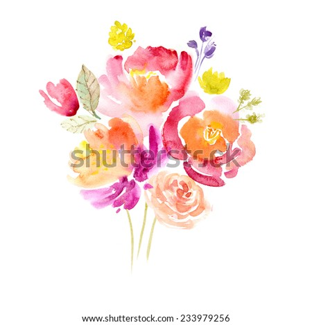 Watercolor floral bouquet - stock photo