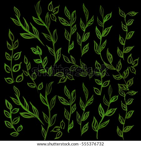 Watercolor floral branch and leaves pattern on black fluorescent background. Green