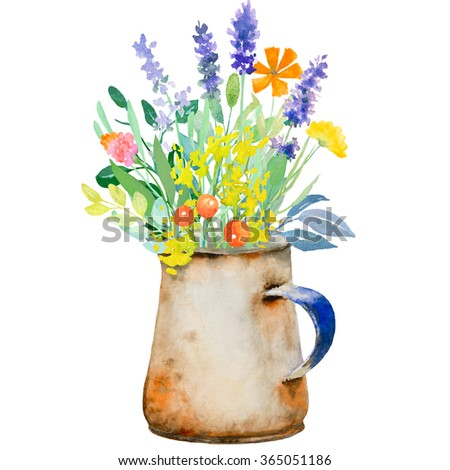 Watercolor floral composition. Jug with flowers.  Hand painted.
